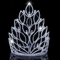 King Baroque Regina Big Tiaras Corones Top Silver Silver Crystal Strass da sposa Pageant Accessori per capelli Bridali Accessori per capelli Corona JCI108