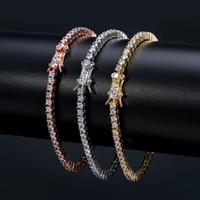 Bracciali da tennis in oro rosa da uomo in argento catena in argento catena di modo di braccialetto hip hop gioielli 3mm