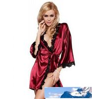 Heiße Frauen sexy Nachtwäsche Satin-Spitze-Wäsche Nachtwäsche Robes Intimate Nachtkleid Robes Kimono exotischer Kleid-Babydolls Chemises