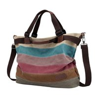 Canvas Handbags Bags Fashion All- matched Color Stripes Handb...