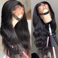 Бразильские волны для тела парики предварительно сорванные полные кружевные фронтальные парик мошенничество волос 180% 13x4 кружева фронтальные волосы человеческие волосы черные женщины AA95