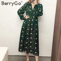 Vestidos casuais Berrygo elegante bolinhas vestido longo mulheres retrô v-pescoço feminino chique uma linha outono alta cintura sopro manga boho