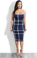 2019 Yeni Kadın Lüks Ekose Bodycon Elbise Kadın Tasarımcı Giysi Spagetti Kayışı Seksi Elbiseler Kadın Elbiseler Parti Elbise Rtthy
