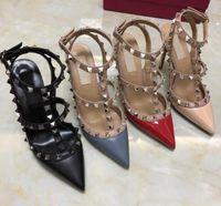 Venta nuevo calientes clásicos de las mujeres highthin talón en punta remaches zapatos de fiesta zapatos de boda de la manera 34-43