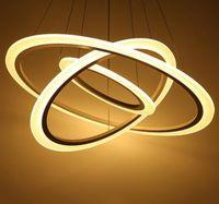 Modern Yüzükler LED Kolye Işıkları Daire Akrilik Metal LED Tavan Lambası Aydınlatma Armatürleri Yemek Odası Için Droplights Oturma Odası Restoran Ofiice