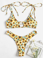 ZAFUL Tie Shoulder Sunflower Keyhole Bikini 2019 Swimwear Wo...