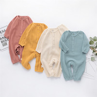 Spring Baby Boys Rompers Front Button Long Sleeve Fall Organ...