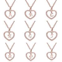 Klassische Rose Gold 26 Brief Diamant Gepflasterte Liebes-Herz-Anhänger-Halskette Alphabet A-Z Anfangsbuchstabe Halskette Damenschmuck Geschenk-freies Schiff