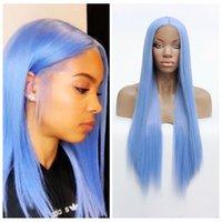 Perruques synthétiques MHAZEL LONG LONG DROIT Coiffures Dentelle Avant Perruque Résistant à la chaleur Bleu Preflessed Glânes pour femmes noires