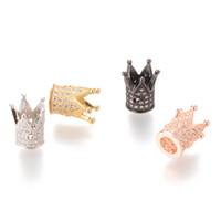 Zircon Perles Couronne Micro Pave Spacer Perles 12.2 * 10.4mm Pave Spacer Perles ICYS009B Pas de nickel et accessoires de bijoux en gros plomb