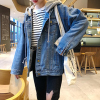 New BF Women Coat Vestidos Plus Size Casual Cappotto di jeans con cappuccio rimovibile solido allentato Donne Capispalla grande in denim
