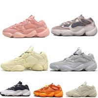 Venta caliente Kanye West Soft Vision 500 Súper Luna Amarillo Negro Utilidad Blush Sal estilista de deporte de alta calidad zapatilla de deporte de los zapatos corrientes de los hombres de las mujeres