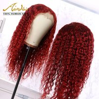 Dark Red Brazilian Human Hair Full Lace Wigs Deep Curly Glue...