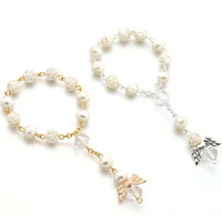 Ängel dop favoriserar akryl rosor favoring finger rosor christening favoriserar givare gynnar baby armband barn smycken a1671