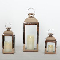 Nordic INS Oro Vetro Candeliere Candelieri Decor acciaio inossidabile vento lampada della candela lanterna Bougeoir Outdoor Wedding FC122