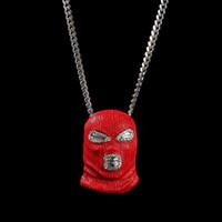 rote Maske Anhänger Halskette für Männer Luxus-Designer-Herren-bling Diamantkopfbedeckung Anhänger Gold Cuban Link Kette Halskette Schmuck Geschenk gefror heraus
