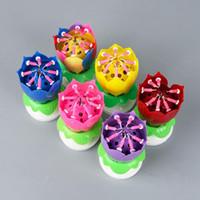 Musikalische Geburtstagstorte Kerze Lotus-Blumen-Blumen Rotating Kerze Lotus funkelnde Blumenkerzen Kuchen-Zusatz-Geschenk KKA7955