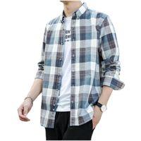 남성 캐주얼 셔츠 봄과 가을 순수 면화 레저 편안한 긴 소매 셔츠 패션 대형 격자 무늬 카디건