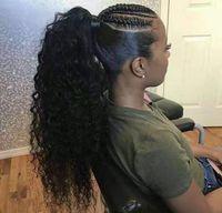 Женщины хвостик черный африканский человеческий кудрявый хвостик афро стратные волосы наращивание волос для волос для волос для волос для волос для волос для волос натуральная волна натуральная волна 160G