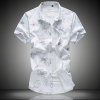 2017 summer new floral mens dress shirts casual slim fit goo...