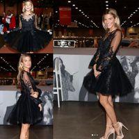 Little black dress rachel mccord curto baile de finalistas do baile com manga longa 2020 sheer o-pescoço lace applique evening party dress