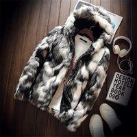 Зимняя мода шуба Мужская одежда толстый искусственный мех молния куртка с капюшоном куртка мужская толстовки пальто человек теплая одежда негабаритных