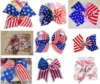 kız Saç Aksesuarları 20pcs çip / elastik bant ile TEMMUZ Cheer Bow 4TH yay Büyük Amerikan Bayrağı saç 7INCH