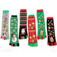 Weihnachten-Socken 8-Frauen-lustige Cartoon-3D Printed Five Fingers Socken Schneemann Sankt Warm Mid-Kalb Lange Stocking L-OA7202