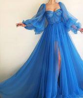 Schatz lange Ärmel Tüll Abschlussballkleider sexy Split lange formale sexy 2020 Sonderanfang Party Kleider plisseierte Abend Party Kleider lang