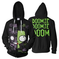 Anime Invader Zim Sweat À Capuche Unisexe Zim Cosplay Sweat À Capuche Sweat À Capuche Zip Up Veste Printemps Automne Manteau Haut Adulte Hommes Femmes
