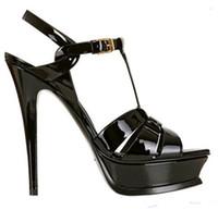 Celebridad de verano Zapatillas de cuero T-Strap 10cm y 14 cm Tacón alto Mujer Sandalias Plataforma Sexy Hebilla Correa Partido Sandalias de bodas