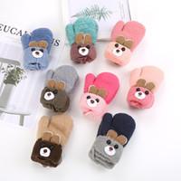 만화 어린이 0-3 세 장갑 겨울 니트 양모 더블 레이어 플러스 따뜻한 두꺼운 벨벳을 적용 곰 귀여운 귀