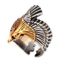 Титановая сталь из нержавеющей стали 316L с регулируемым раскрытием кольца, регулируемая jwelry классический большой воздушный орел, регулируемый для меня и женщин Размер: 8-13