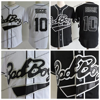 Mens Biggie Smalls 10 Bad Boy Black Baseball Jersey White Bi...