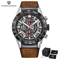 PAGANI scheletro Fashion Design Sport cronografo cinturino in pelle al quarzo da uomo Orologi di marca superiore Orologio impermeabile di lusso