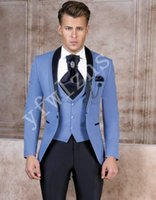 Handsome Groomsmen scialle risvolto smoking dello sposo degli uomini Wedding Dress Man Giacca Blazer Prom Cena 3 tuta (Jacket + Pants + Tie + Vest) B313