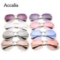 Accalia 2020 rosa de metal gafas sin montura de gafas de sol de las mujeres del océano La lente clásica marca de diseño Hombres / Mujeres Gafas de sol de las mujeres UV400 Box