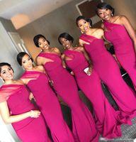 Negro Gilrs sirena vestidos de dama de Fuschia 2020 de un hombro piso-longitud vestidos de noche vestidos de dama de honor BM0861