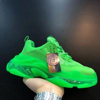 Yeşil Temizle Sole Üçlü Tasarımcı Üçlü S Büyük Boy Sneaker Bağbozumu Sneakers 2020 Yeni Renkler Erkek Kadın Kovboy Rahat Ayakkabılar Espadrilles Yeni