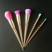 Tarta Cepillos Establece un cepillo de cosméticos de color rosa brillante 5PCS envío de herramientas de maquillaje brocha de maquillaje unicornio tornillo de oro espiral vástago gratuito 30