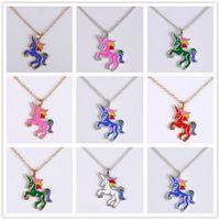 12 цветов моды единорога ожерелье для девочек дети дети эмаль мультфильм лошадь ювелирные изделия женские животные кулон ожерелье