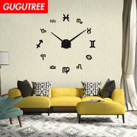 Decorate Home 3D number mirror clock art wall sticker decora...