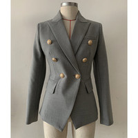 Nouveau Style Premium Blazer Top Qualité Oritannique Design Femme Blazer à double boutonnage Slim Jacket Boucles en métal Gris Blazer Outwear Manteau