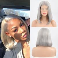 Carisma sintético corto pelo de Bob del frente del cordón de la peluca a prueba de calor Cabello gris pelucas para mujeres Negro recto Bob peluca con parte media