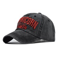 Yeni Oğlak Büyük Mektubu İşlemeli Beyzbol Şapkası Yüksek dereceli pamuklu kapak yıkanmış eski beyzbol şapkası
