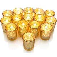 Portacandele per candeliere a mosaico in vetro placcato placcato con finitura oro macchiato perfetto unico per ogni casa e decorazione di nozze XD20507