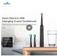SEAGO SG-949 Cepillo de dientes eléctrico Sonic con Smartimer 5 modos de cepillado 3 cabezas de cepillo Carga USB impermeable IPX7 Cuidado de los dientes