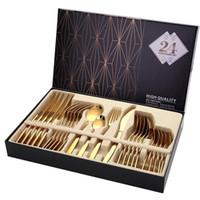 24PCS Oro Cubiertos vajilla Vajilla Cubiertos Cuchillos platos combinados Forks cucharas de cocina occidental vajillas de acero inoxidable Inicio