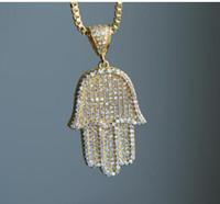 """alta qualità hip hop scatola bling chain 24"""" donne uomini di colore argento paio oro ghiacciato fuori Hamsa collana pendente mano per il regalo di compleanno"""