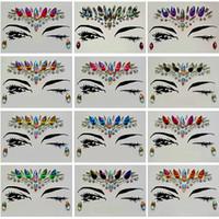 الماس ملصقا بوهيميا نمط بريق ملصقات الوشم الكريستال للنساء الوجه الجبين المحور الزفاف ديكورات 13 نمط RRA1183